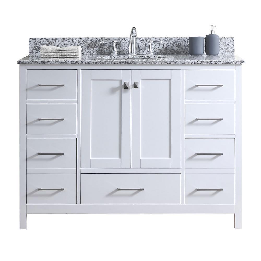 Caroline Madison 49 in. W Bath Vanity in White with Granite Vanity Top in Arctic White Granite with Round Basin