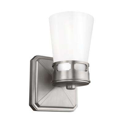 Cupertino 5 in. Satin Nickel Sconce with Opal White Glass Shade