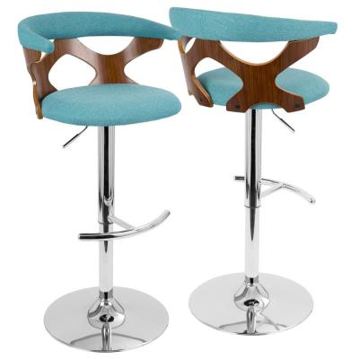 Gardenia Walnut and Teal Adjustable Bar Stool