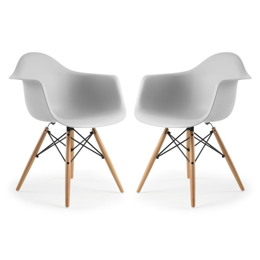 Vortex Harbor Grey Arm Chair (Set of 2)
