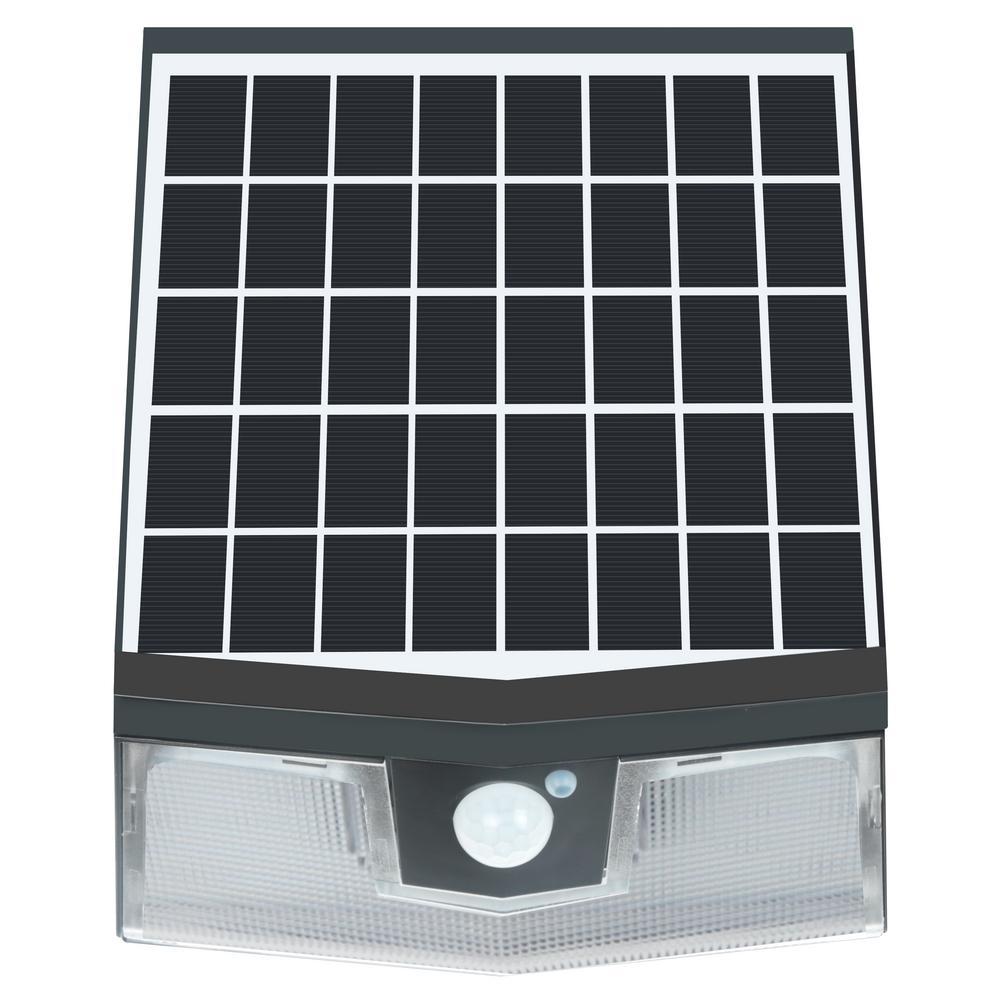 100-Watt Equivalent Integrated LED Black Motion Sensing Outdoor Solar Wall Pack Light, 1500 Lumens, 4000K, 50 LEDs