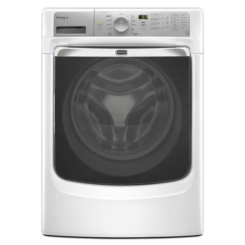 Maytag Maxima XL 4.3 cu. ft. High-Efficiency Front Load Washer with Steam in White, ENERGY STAR-DISCONTINUED