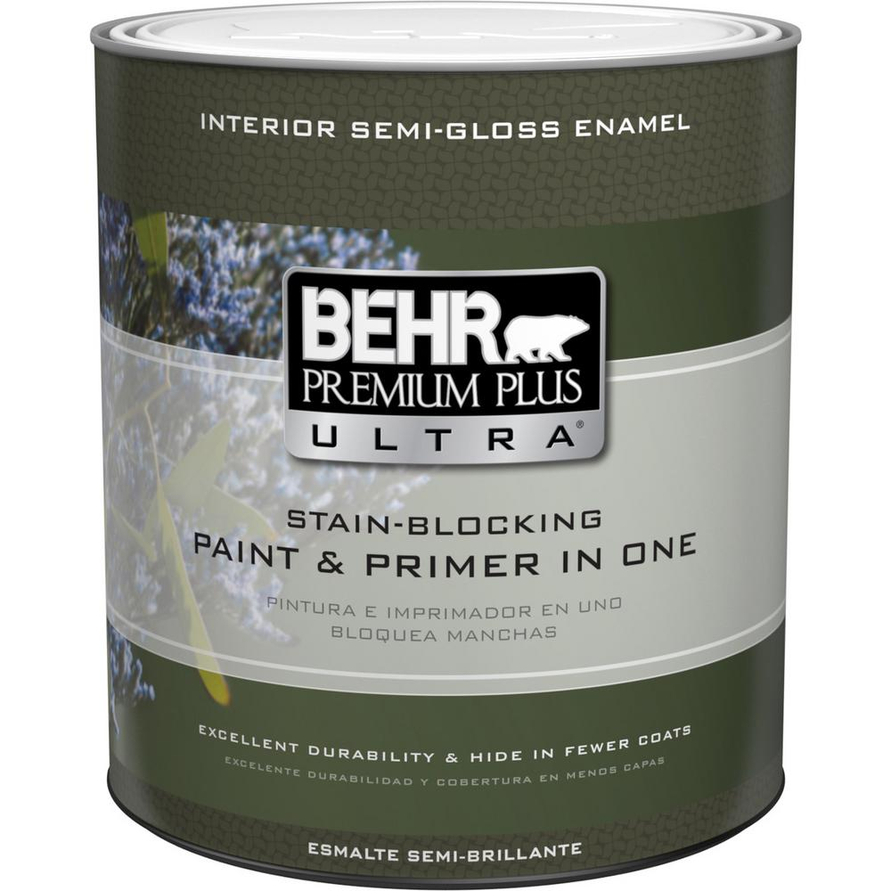 behr premium plus ultra 1 qt ultra pure white semi gloss enamel interior paint 375004 the. Black Bedroom Furniture Sets. Home Design Ideas