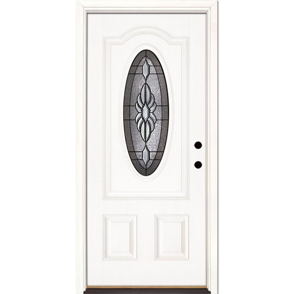 Feather River Doors 33.5 in. x 81.625 in. Sapphire Patina 3/4 Oval Lite Unfinished Smooth Left-Hand Inswing Fiberglass Prehung Front Door