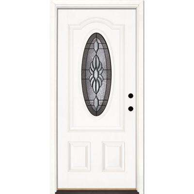 33.5 in. x 81.625 in. Sapphire Patina 3/4 Oval Lite Unfinished Smooth Left-Hand Inswing Fiberglass Prehung Front Door