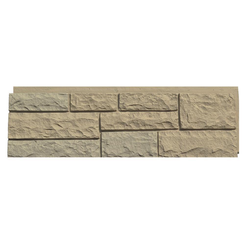 Random Rock 15.5 in. x 48 in. Faux Stone Siding Panel in Tri Buff (4-Pack)