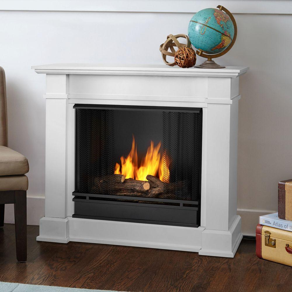 Add a fireplace to your home without the mess of traditional wood burning fireplaces with Real Flame Devin Ventless Gel Fuel Fireplace in White.