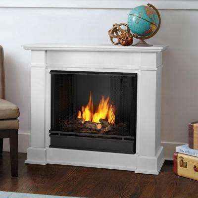 Devin 36 in. Ventless Gel Fuel Fireplace in White