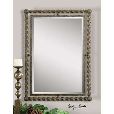 35 in. x 25.5 in. Wrought Iron Framed Mirror