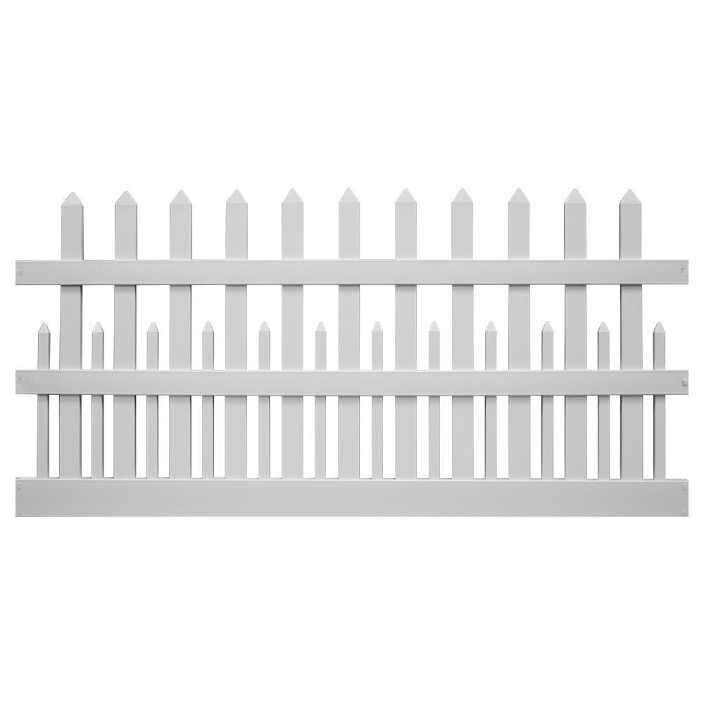 Ashville 4 ft. H x 8 ft. W White Vinyl Picket Fence Panel Kit