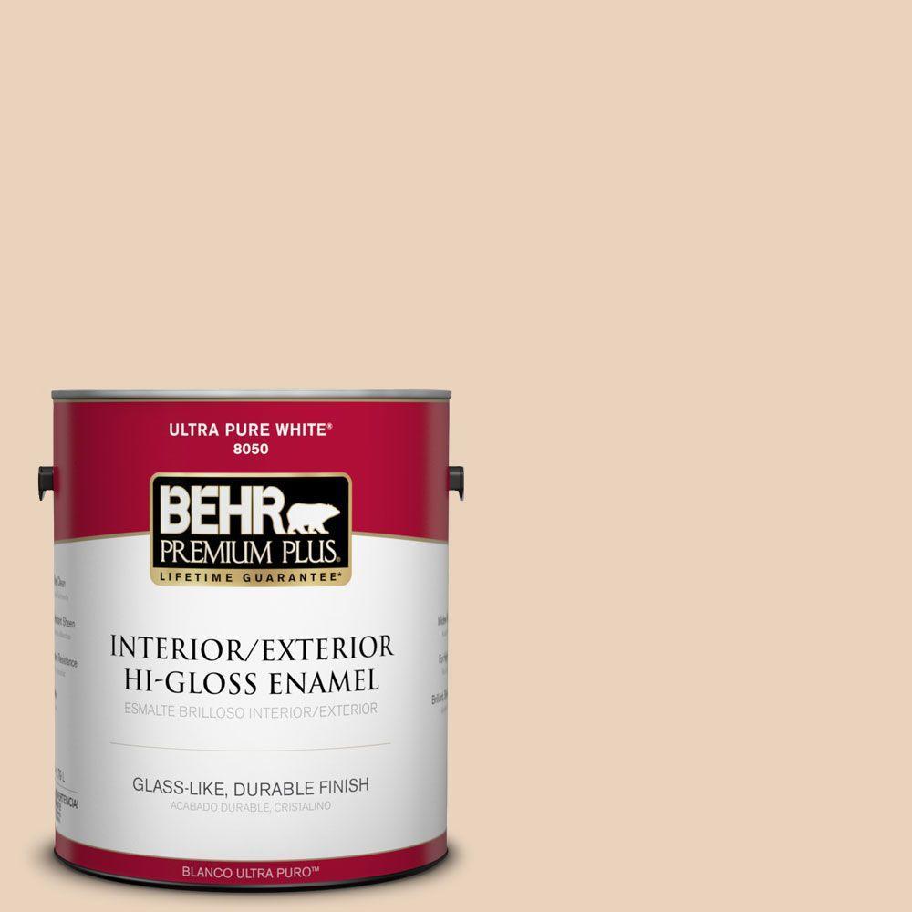 BEHR Premium Plus 1-gal. #T14-2 South Peach Hi-Gloss Enamel Interior/Exterior Paint