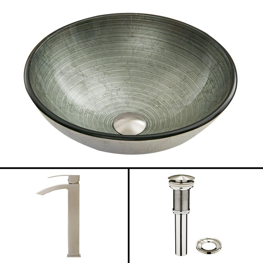 VIGO Glass Vessel Sink In Simply Silver And Duris Faucet Set In Brushed  Nickel