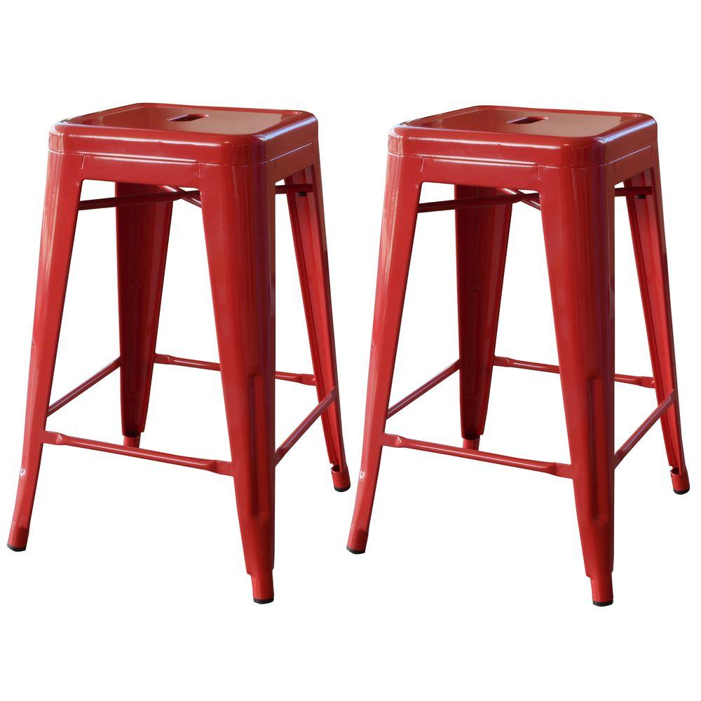 Amerihome Loft Style 24 In Stackable Metal Bar Stool In Red Set Of