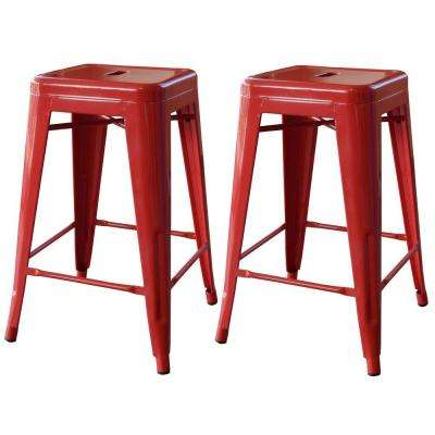 Loft Style 24 in. Stackable Metal Bar Stool in Red (Set of 2)