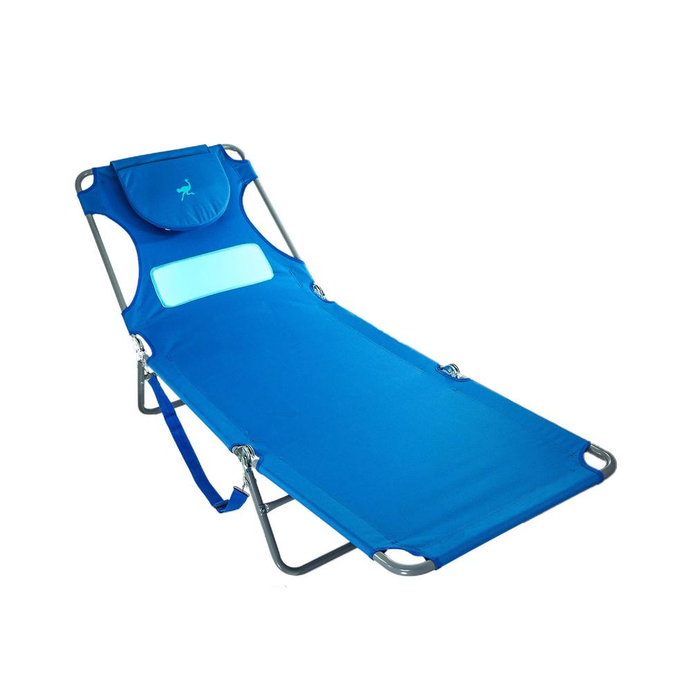 Deltess Ostrich Ladies Blue Aluminum Folding Beach Chair