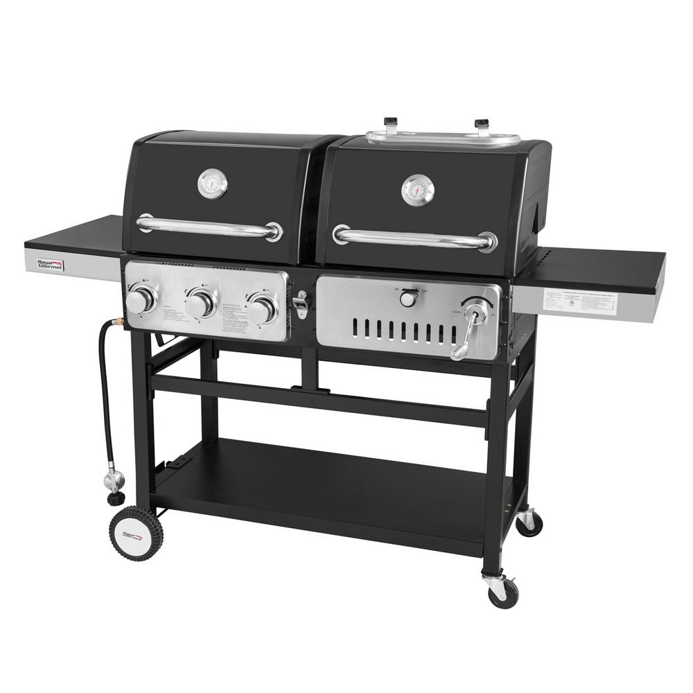 3 Burners Propane Gas Grill And Charcoal Combo In Black With 2 Side Tables