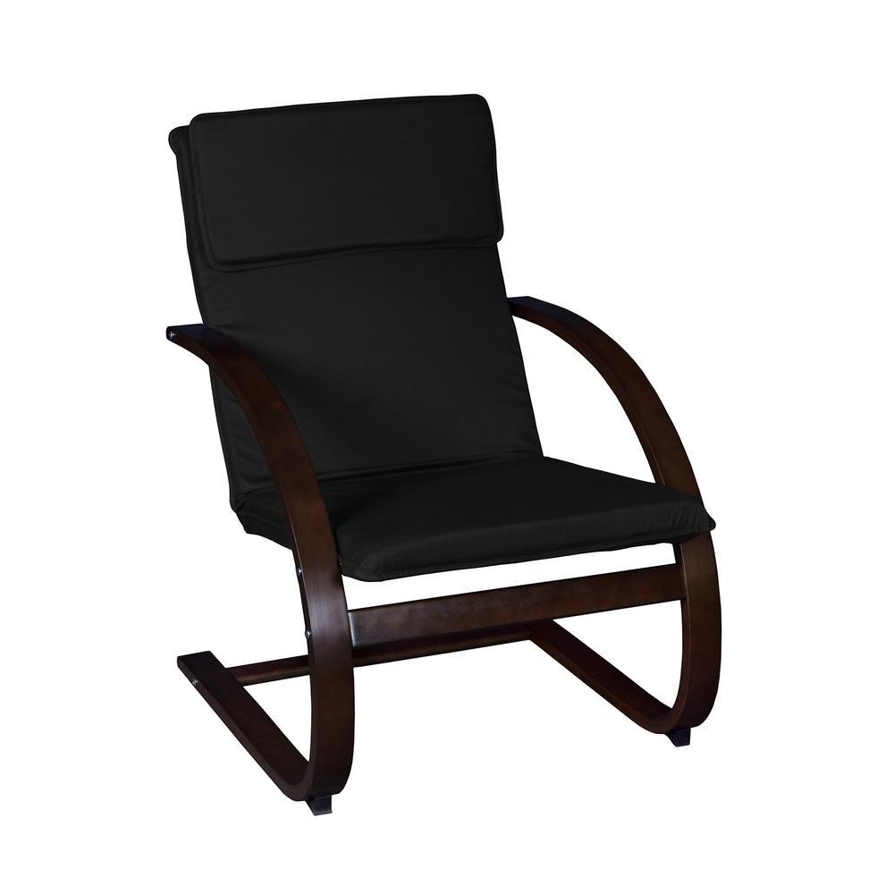 Mia Mocha Walnut/Black Bentwood Reclining Chair