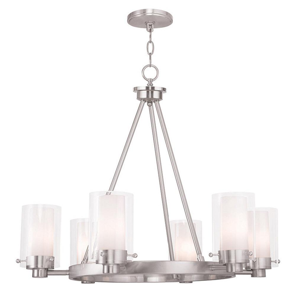 Manhattan 6-Light Brushed Nickel Chandelier with Hand Blown Clear and Opal