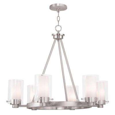 Manhattan 6-Light Brushed Nickel Chandelier with Hand Blown Clear and Opal Glass Shade