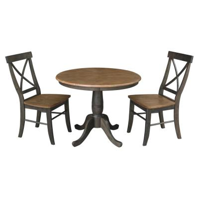 Hampton 3-Piece 36 in. Hickory/Coal Round Solid Wood Dining Set with X-Back Chairs