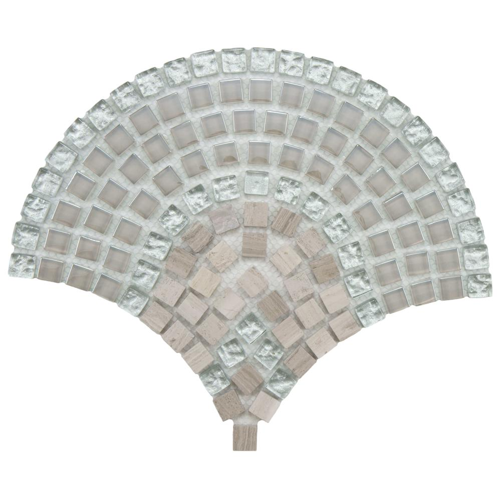 Merola Tile Tessera Arch Salton 9-3/4 in. x 11-3/4 in. x 8 mm Glass and Stone Mosaic Tile