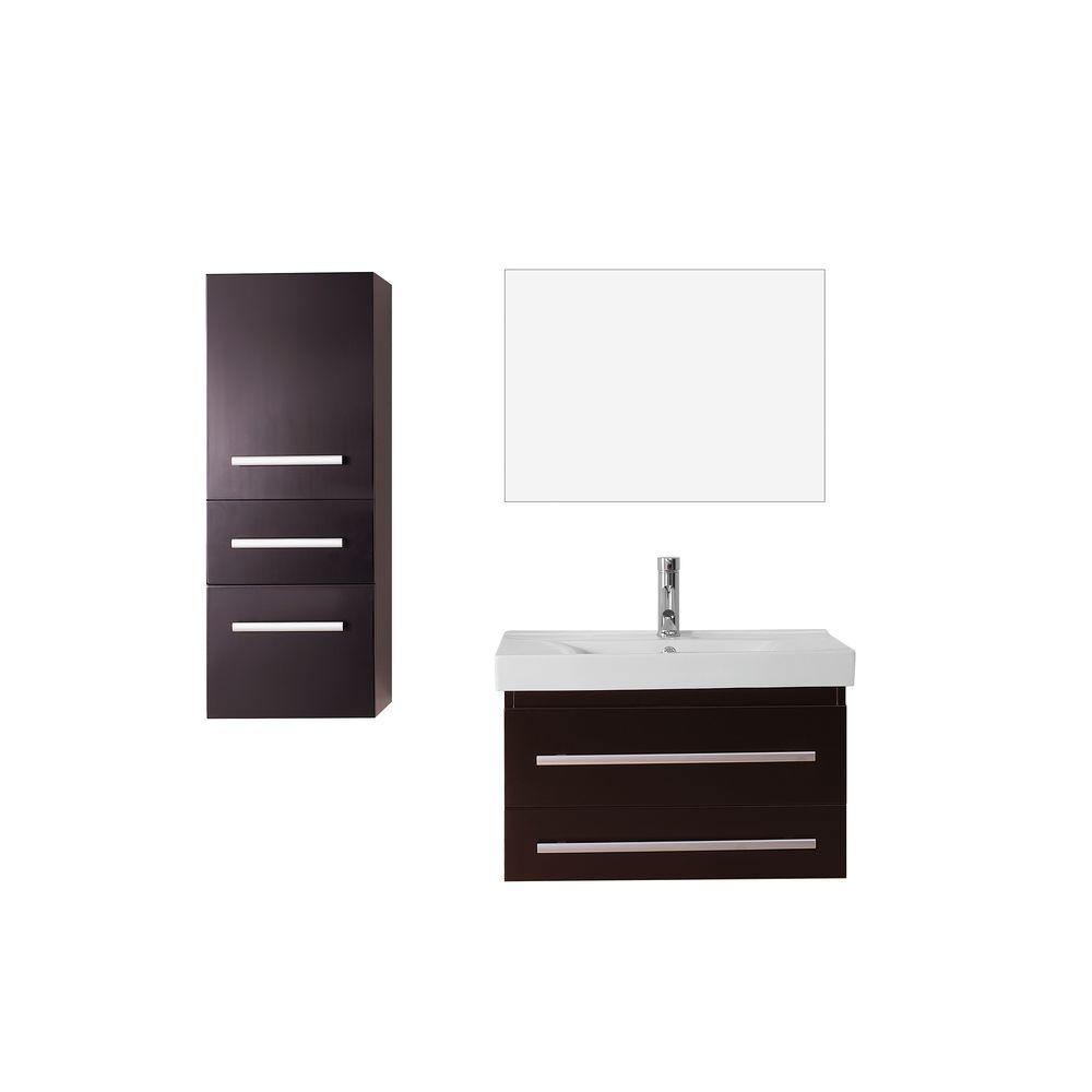 Virtu USA Antonio 29.2 in. W x 18.3 in. D Vanity in Espresso with Ceramic Vanity Top in White with White Basin and Mirror