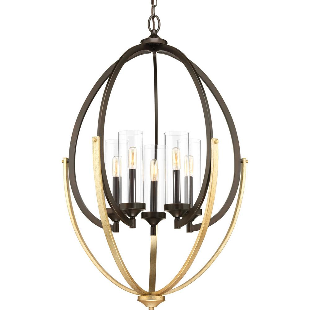 Evoke Collection 5-light Antique Bronze Chandelier with Clear Glass Shade
