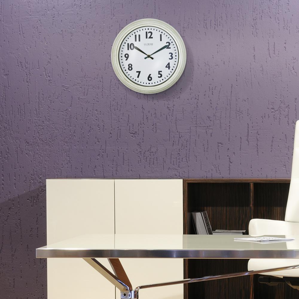 12 in. Round Antique White Quartz Wall Clock
