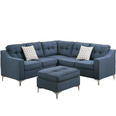 Palermo 4 Piece Navy Sectional Sofa With Ottoman