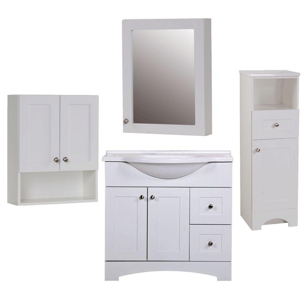 Glacier Bay Del Mar Piece Bath Suite In White With In Bath - Bathroom vanity and medicine cabinet