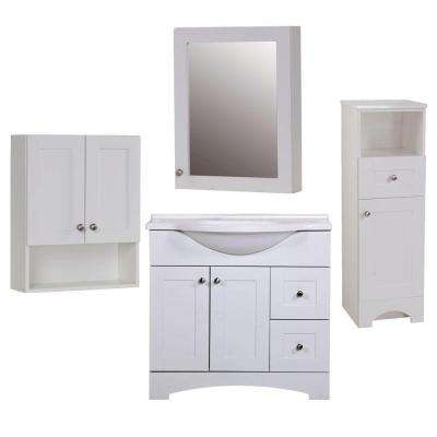 Del Mar 4-Piece Bath Suite in White with 37 in. Bath Vanity with Top, Linen Cabinet, Wall Cabinet, Medicine Cabinet