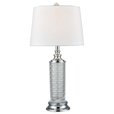 Varigated 26 in. Polished Chrome and Crystal Table Lamp with Fabric Shade