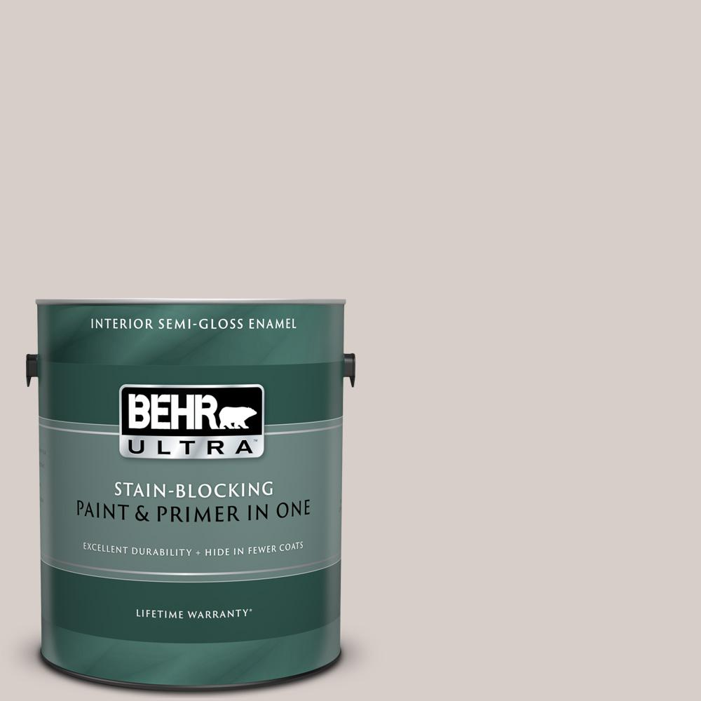 Behr Ultra 1 Gal T14 7 Offbeat Semi Gloss Enamel Interior Paint And Primer In One 375001 The Home Depot