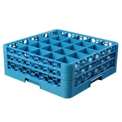 19.75x19.75 in. 25-Compartment 2 Extenders Glass Rack (for Glass 3.25 in. Diameter, 6.34 in. H) in Blue (Case of 3)