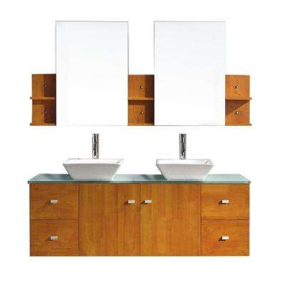 Clarissa 60 in. W Bath Vanity in Honey Oak with Glass Vanity Top in Aqua with Square Basin and Mirror and Faucet