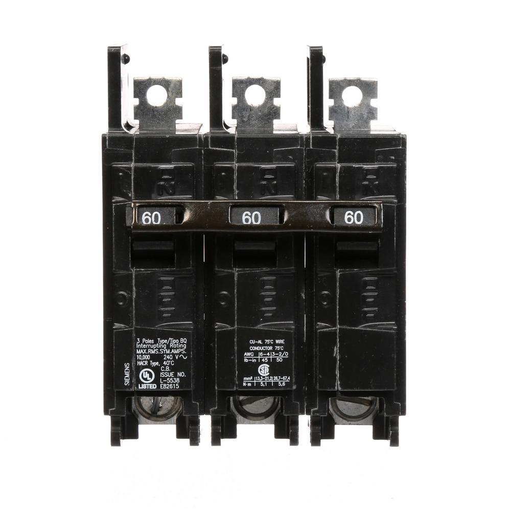 siemens 60 amp 3 pole bq 10 ka lug in lug out circuit breaker bq3b060 the home depot. Black Bedroom Furniture Sets. Home Design Ideas