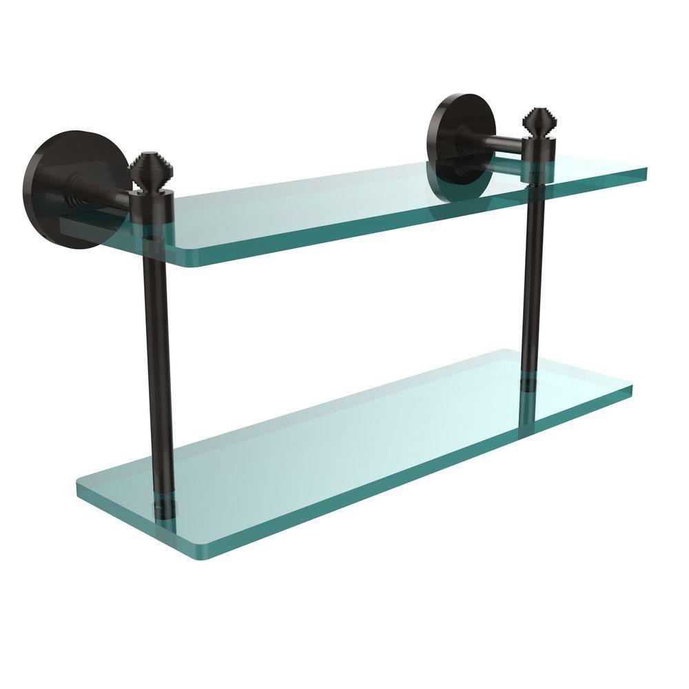Southbeach 16 in. L x 8 in. H x 5 in. W 2-Tier Clear Glass Bathroom Shelf in Oil Rubbed Bronze