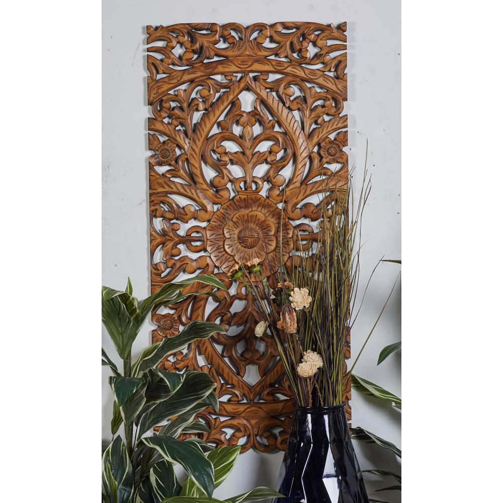 Carved Botanical Scrollwork Framed Wooden