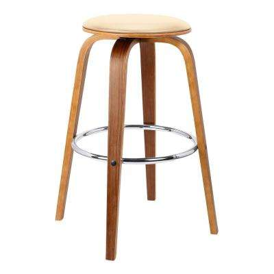 Harbor 26 in. Cream Faux Leather Mid-Century Swivel Counter Height Backless Barstool with Walnut Veneer