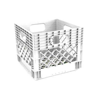 11 in. x 13 in. x 13 in. Plastic Storage Milk Crate in White