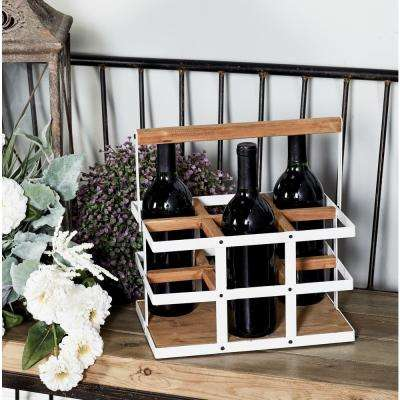 White Iron and Wood 6-Bottle Rectangular Wine Caddy