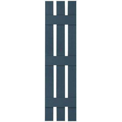 12 in. x 55 in. Lifetime Vinyl Standard Three Board Spaced Board and Batten Shutters Pair Classic Blue