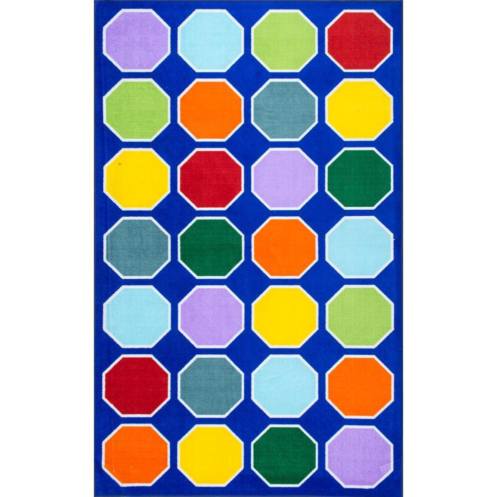 Kecia Octagons Playmat Blue 5 ft. x 8 ft.  Area Rug