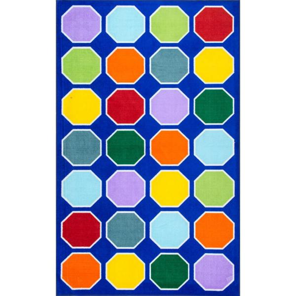 Kecia Octagons Playmat Blue 5 ft. x 8 ft.  Area Rug