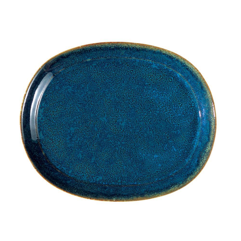 10.25 in. Blue Moss Porcelain Oval Platters (Set of 12)