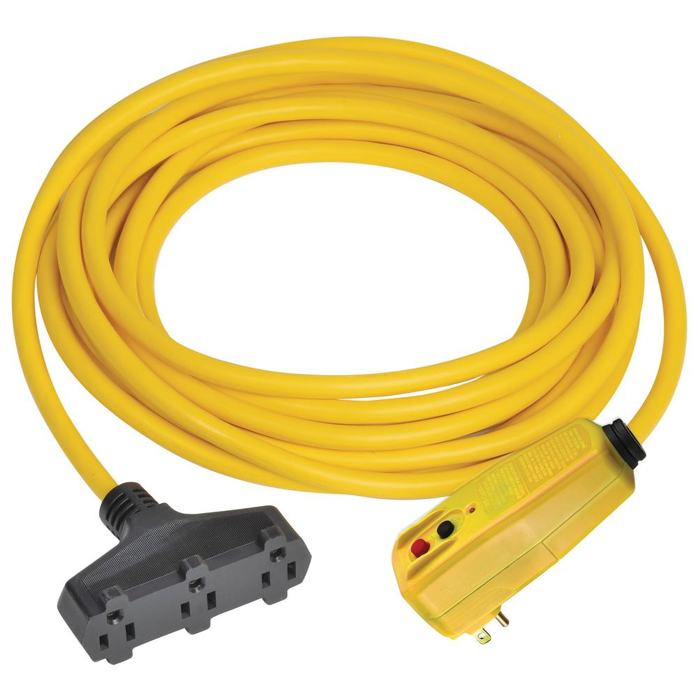 Tower Manufacturing Corporation 50 ft. Right Angle GFCI Triple Tap Cord