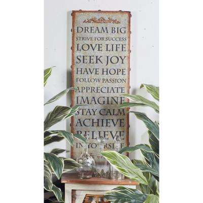 "37 in. x 14 in. ""Inspirational Sayings"" Framed Wooden Wall Art"