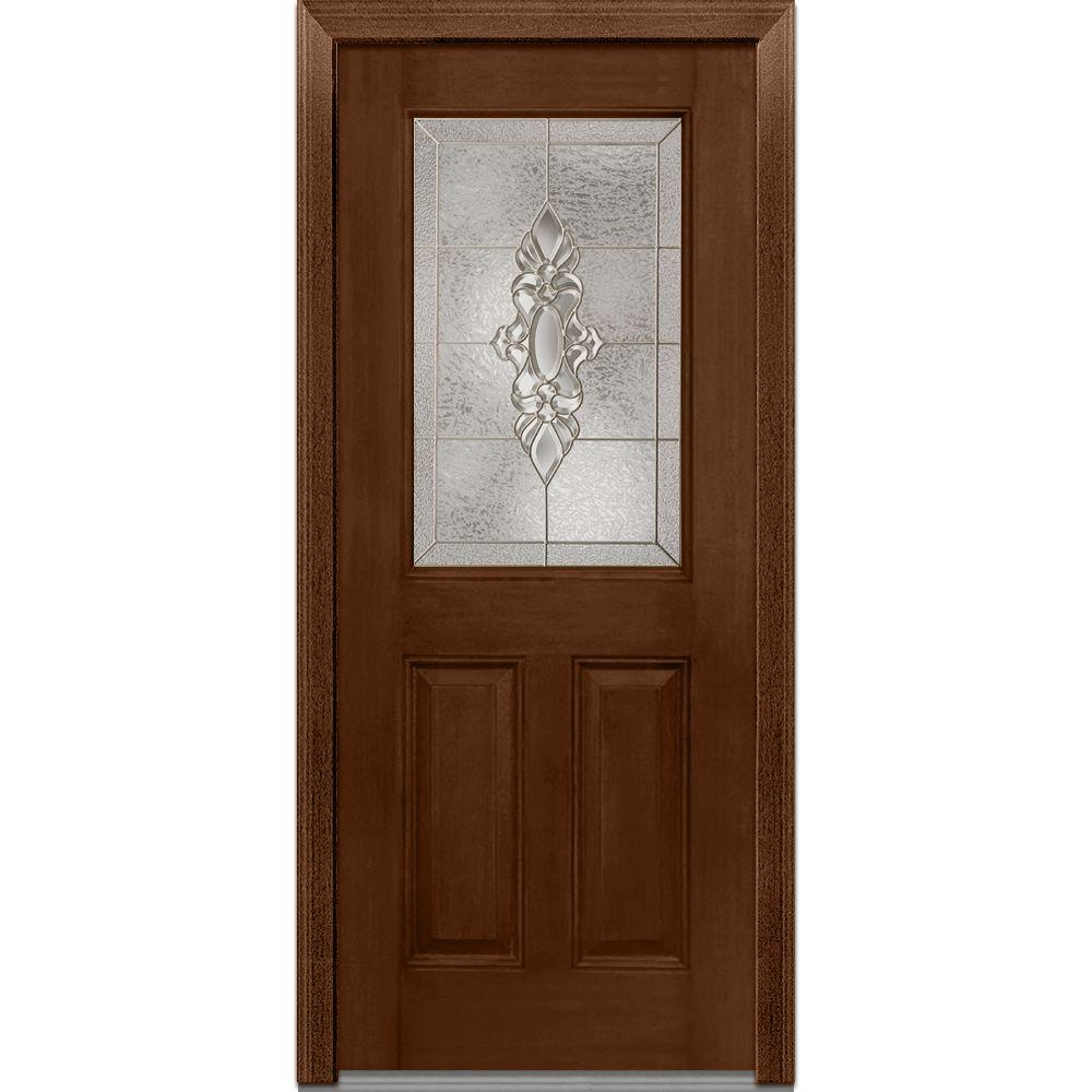Mmi Door 36 In X 80 In Heirloom Master Right Hand Inswing 1 2 Lite Decorative Stained
