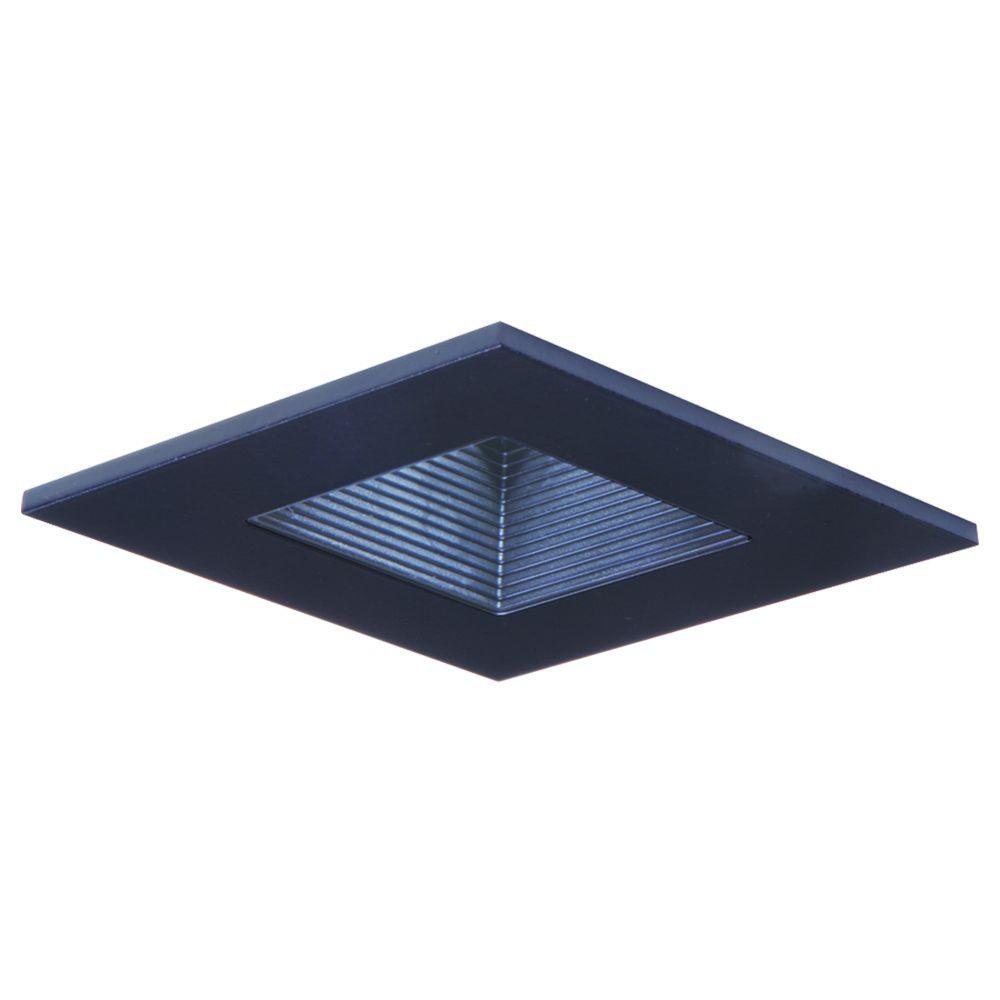Black Recessed Ceiling Light Square Trim With Regressed Lens And Baffle