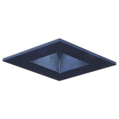 3 in. Black Recessed Ceiling Light Square Trim with Regressed Lens and Black Baffle, Wet Rated Shower Light
